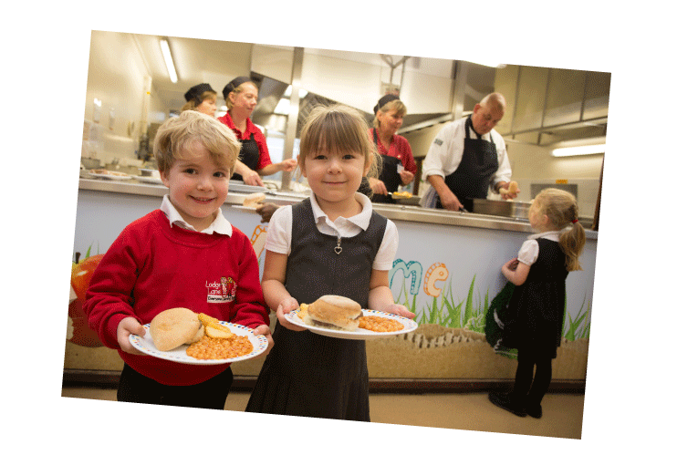 Children with school dinners