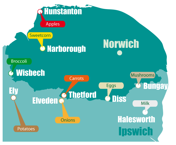 Map of locally sourced produce in Norfolk and Suffolk